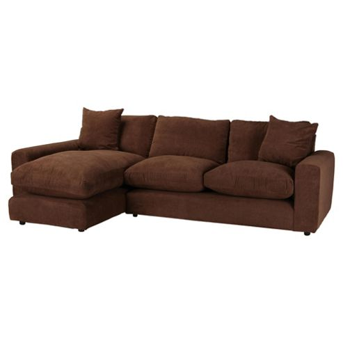 Valentino Chaise Sofa Chocolate Left Hand Facing