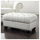 Chesterfield Leather Footstool, White