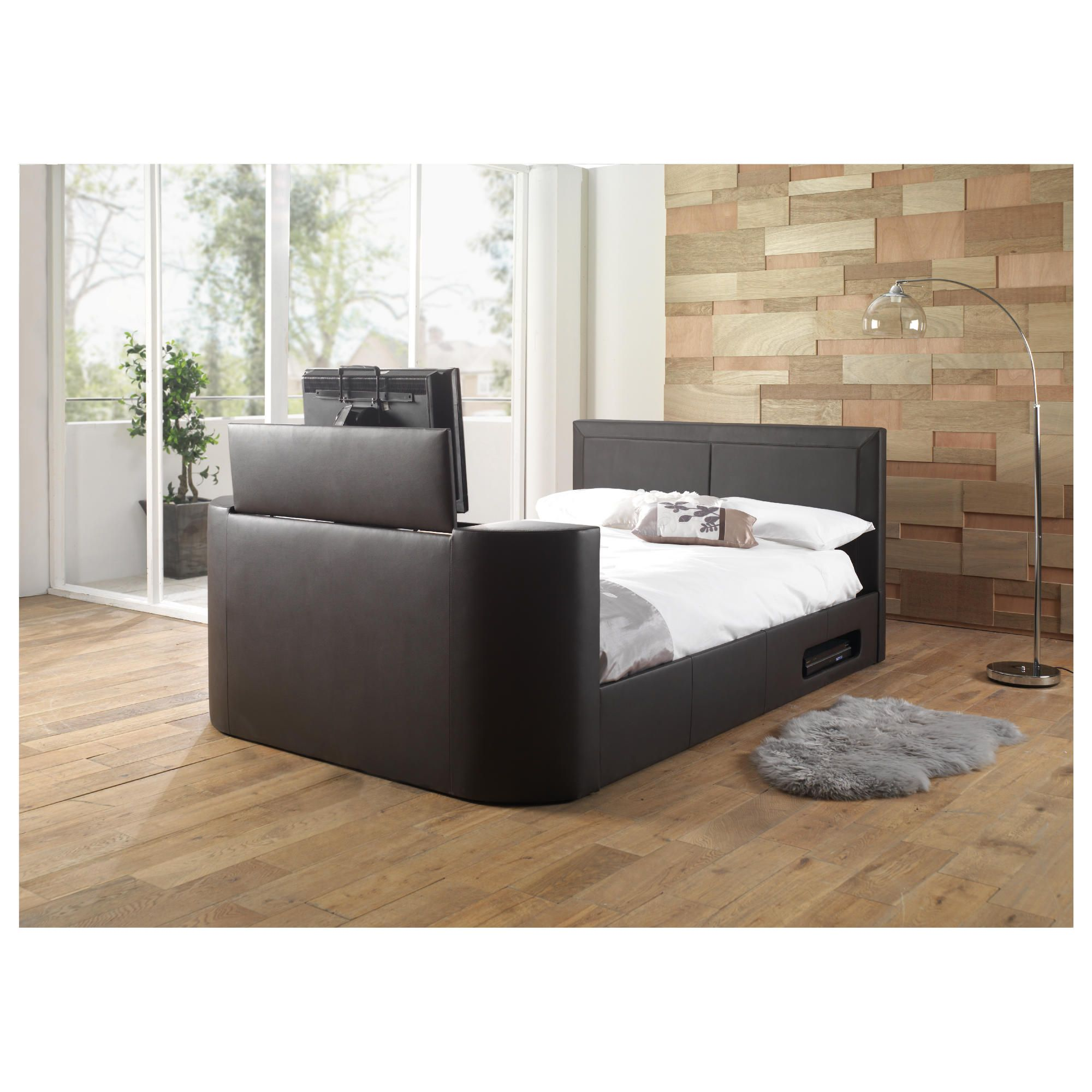 Charlotte Double Gas Lift Tv Bed Frame, Brown at Tesco Direct