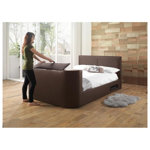 Charlotte Double Gas Lift Tv Bed Frame, Brown