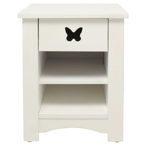 Butterfly Bedside Table, White