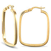 Jewelco London 9ct Yellow Gold Square Tube TV Shape hoop Earrings