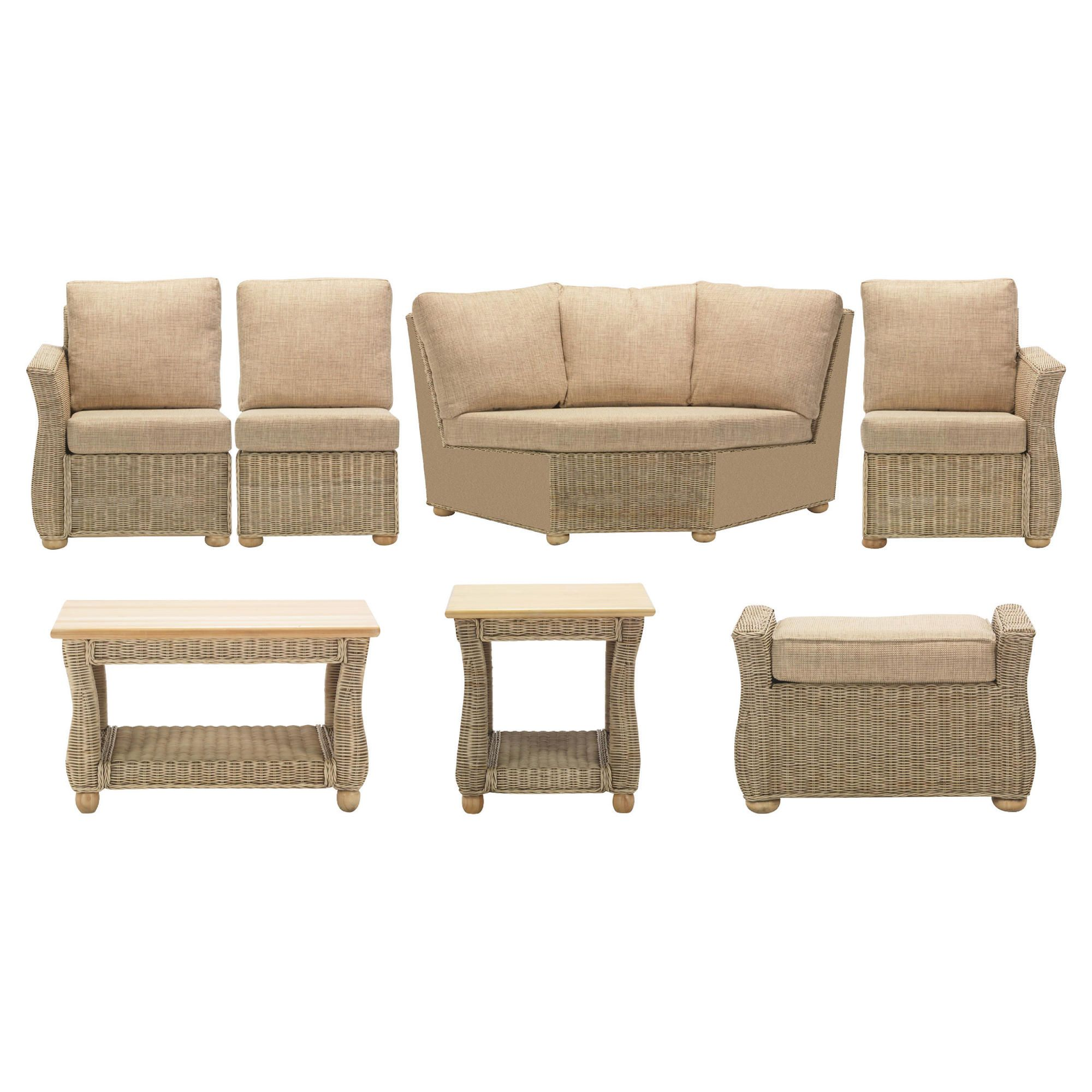 Corsica 7 Piece Suite Conservatory Set (Left, Right, Armless, Corner, Coffee table, Lamp table & Footstool) at Tesco Direct