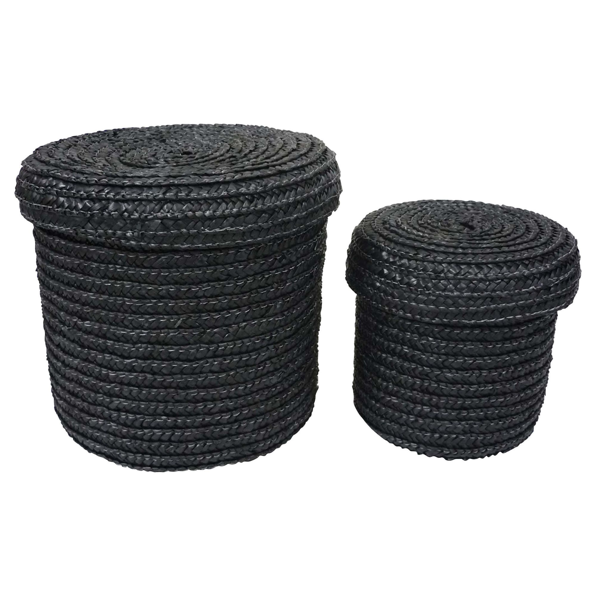 Tesco Set of 2 Straw Storage Baskets Black