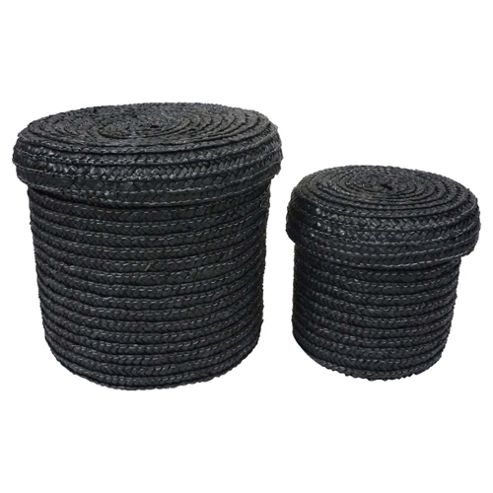 Tesco Set of 2 Straw Storage Baskets Black