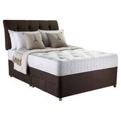 Rest Assured Adore Inc Headboard Classic 1000 Pocket Sprung Single 2 Drawer Divan Bed, Chestnut
