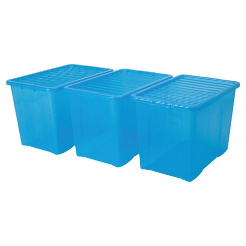 Wham crystal 80L box and lid, 3 pack blue