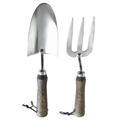 Dobbies Select Wood&Stainless Steel Hand Trowel and Fork Set