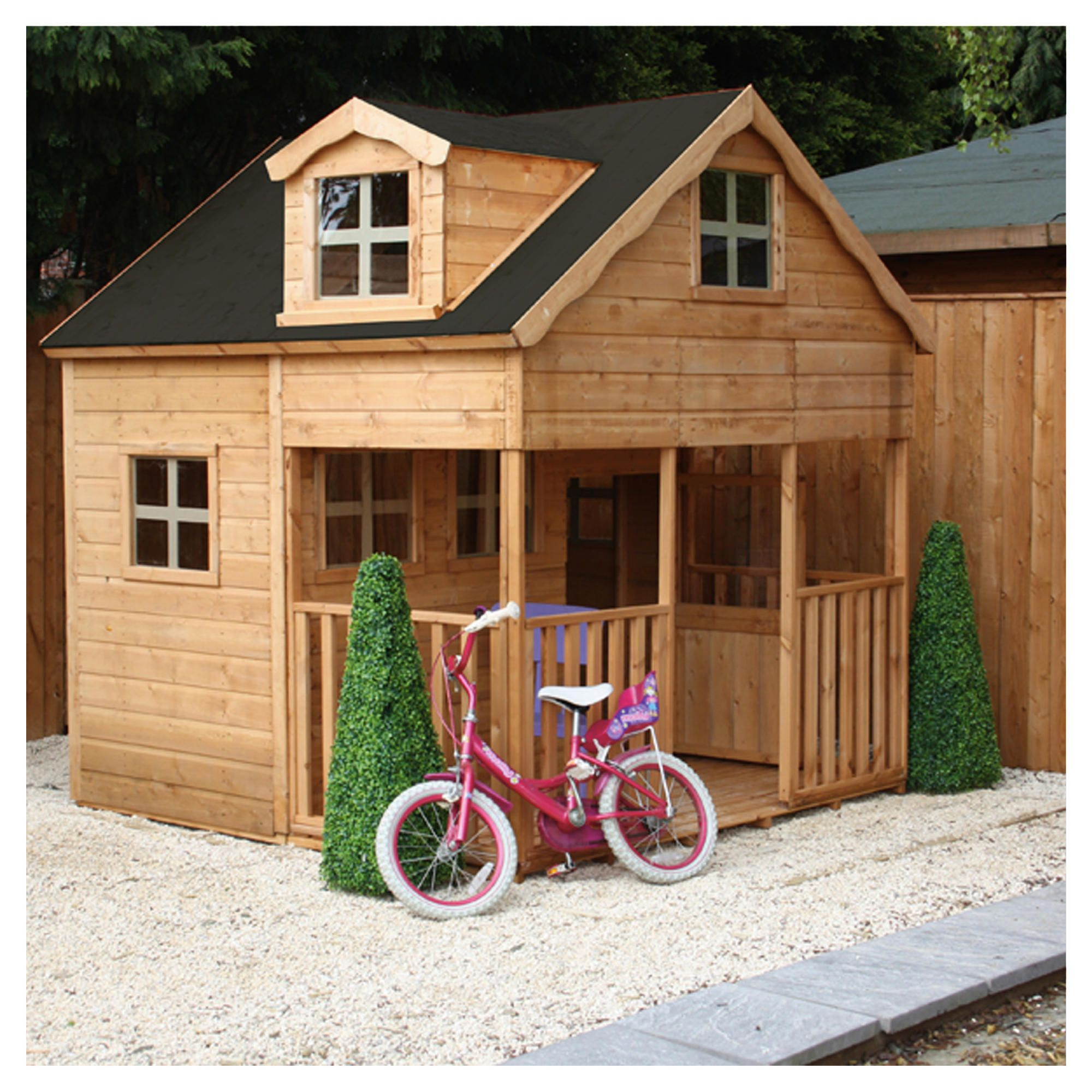 Wooden Playhouse with Dorma Window at Tesco Direct