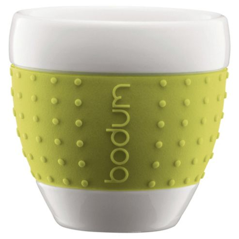 Bodum Pavina Porcelain Coffee Mugs, Lime, Set of 2