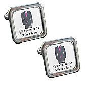 Fuschia Tie - Groom's Father Wedding Cufflinks