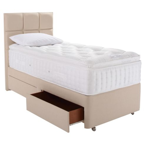 Buy relyon luxury 2200 2 drawer divan bed single from our for Single divan with drawers and headboard