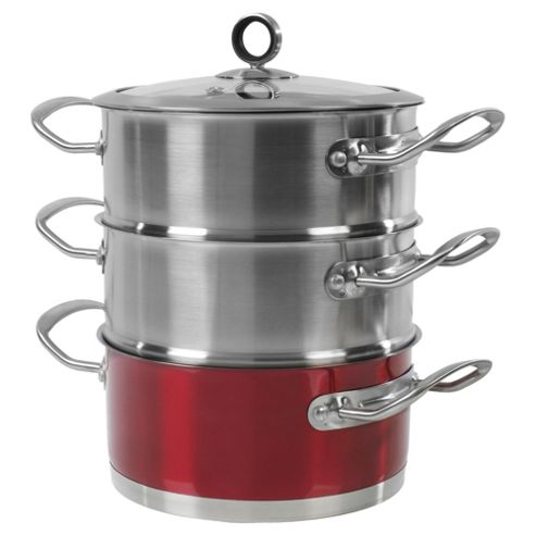 Morphy Richards 3 Tier Steamer, Red