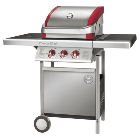 MasterChef Contender Stainless Steel 2 Burner Gas BBQ + Side Burner