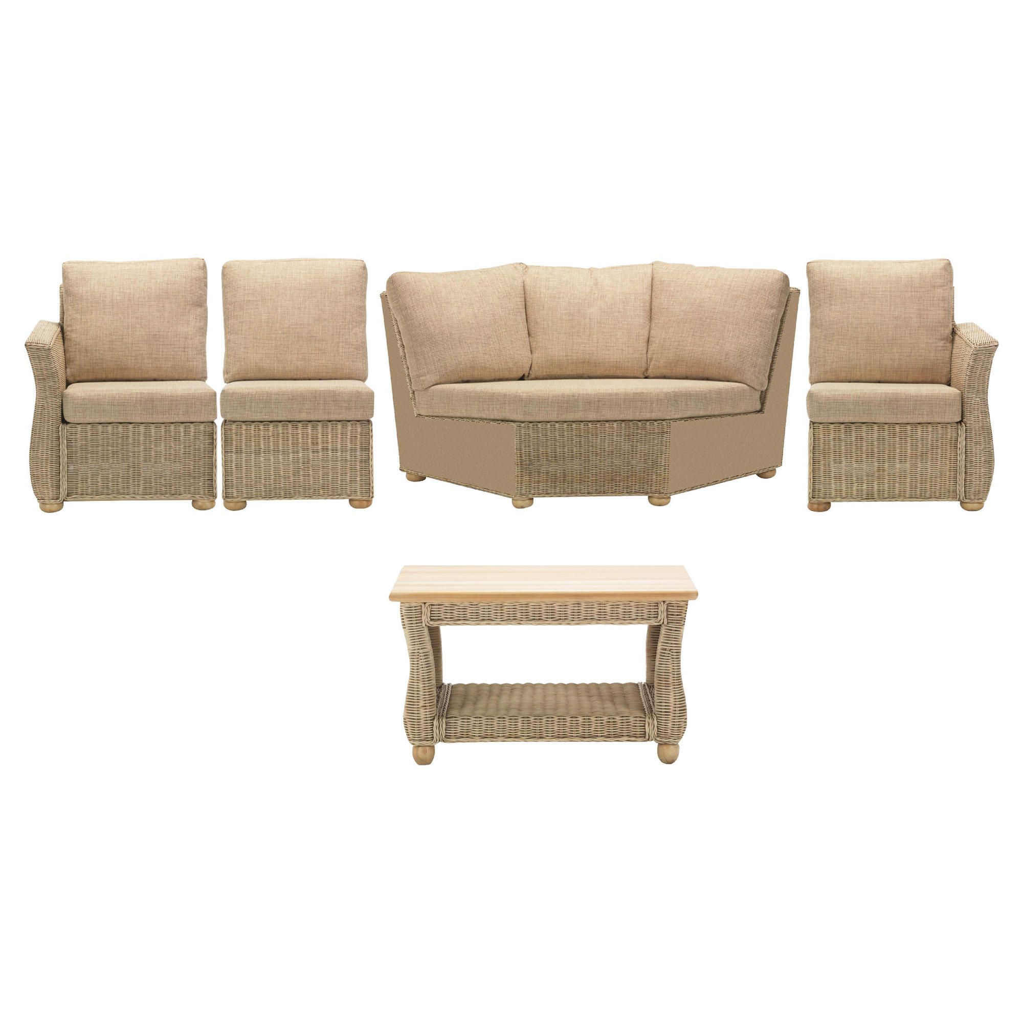 Corsica 5 Piece Suite Conservatory Set (Left, Right, Armless, Corner & Coffee table) at Tescos Direct