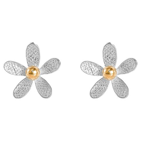 Sterling Silver Two Tone Flower Earrings