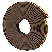 Rubber E Profile Self Adhesive Draught Excluder Brown