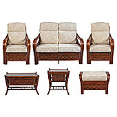 Santiago 6 Pc Conservatory Set (sofa, 2 x chairs, Coffee table, Lamp table & Footstool)