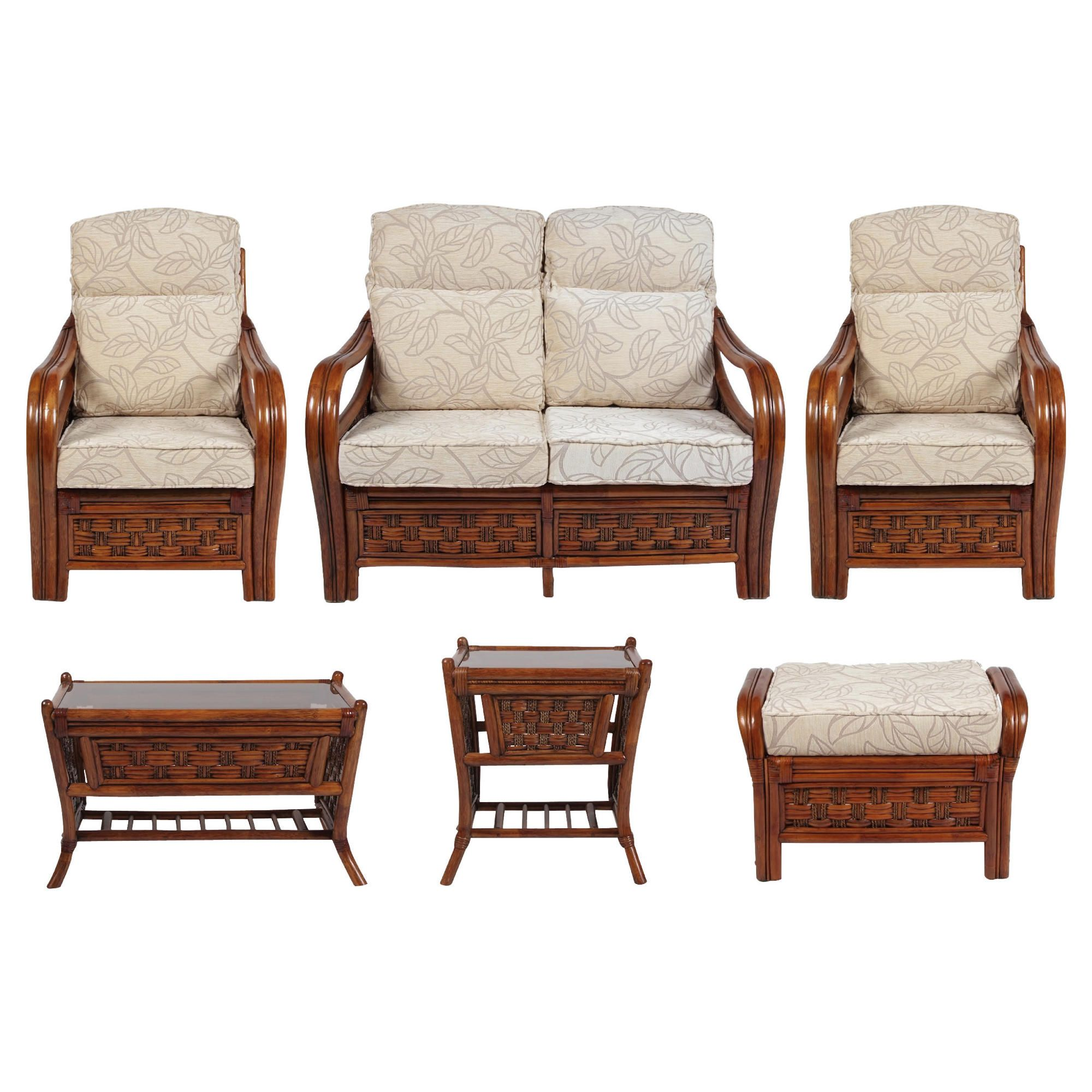 Santiago 6 Piece Suite Conservatory Set (sofa, 2 x chairs, Coffee table, Lamp table & Footstool) at Tesco Direct
