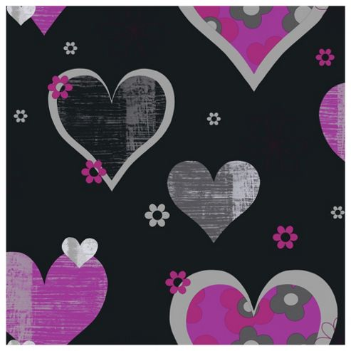 Arthouse Happy Hearts Black & Pink Wallpaper