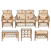 Morley 6 Piece Suite Conservatory Set (sofa, 2 x chairs, Coffee table, Lamp table & Footstool)