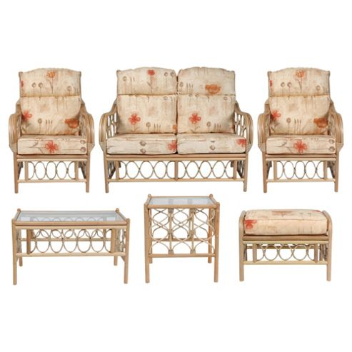 Morley 6 Pc Conservatory Set (sofa, 2 x chairs, Coffee table, Lamp table & Footstool)