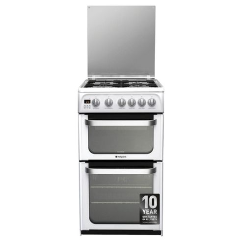 Hotpoint HUG52P, Ultima, Freestanding, Gas Cooker, 50cm, White, Twin Cavity, Double Oven