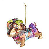 Glass Dachshund Dog Bauble - Christmas Tree Decoration