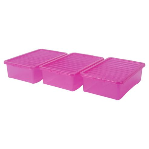 Wham 32 Litre Plastic Underbed Storage Box with Lid, 3-Pack, Pink