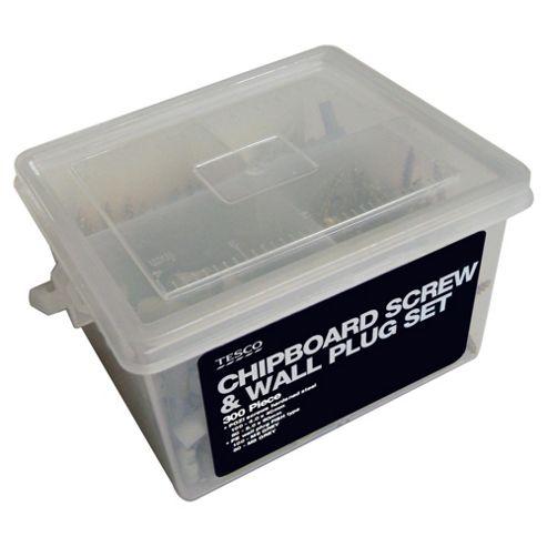 Tesco 300 Pc Chipboard Screw & Wall Plug Set