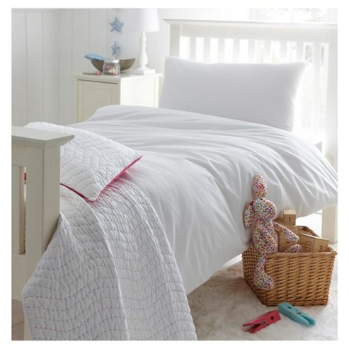 Little Boutique Seersucker Stripe Double Duvet Cover Set White