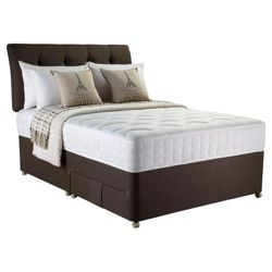 Rest Assured Adore Inc Headboard Memory 1000 Pocket Sprung Single 2 Drawer Divan Bed, Chestnut