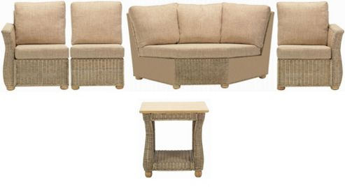 Corsica 5 Piece Suite Conservatory Set (Left, Right, Armless, Corner and Lamp table)
