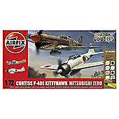 Hornby Airfix Kit A50127 Dogfight Doubles Curtis P-40 and Mitsubishi Zero 1:72 Scale Aircraft Gift Set
