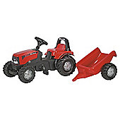 Rolly Kid Case Tractor Ride-On With Roll Bar & Trailer