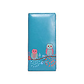 Embossed Owl Blue Zip Up Purse
