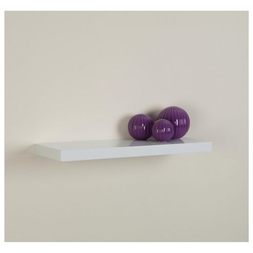 High Gloss White Floating Shelf 60cm