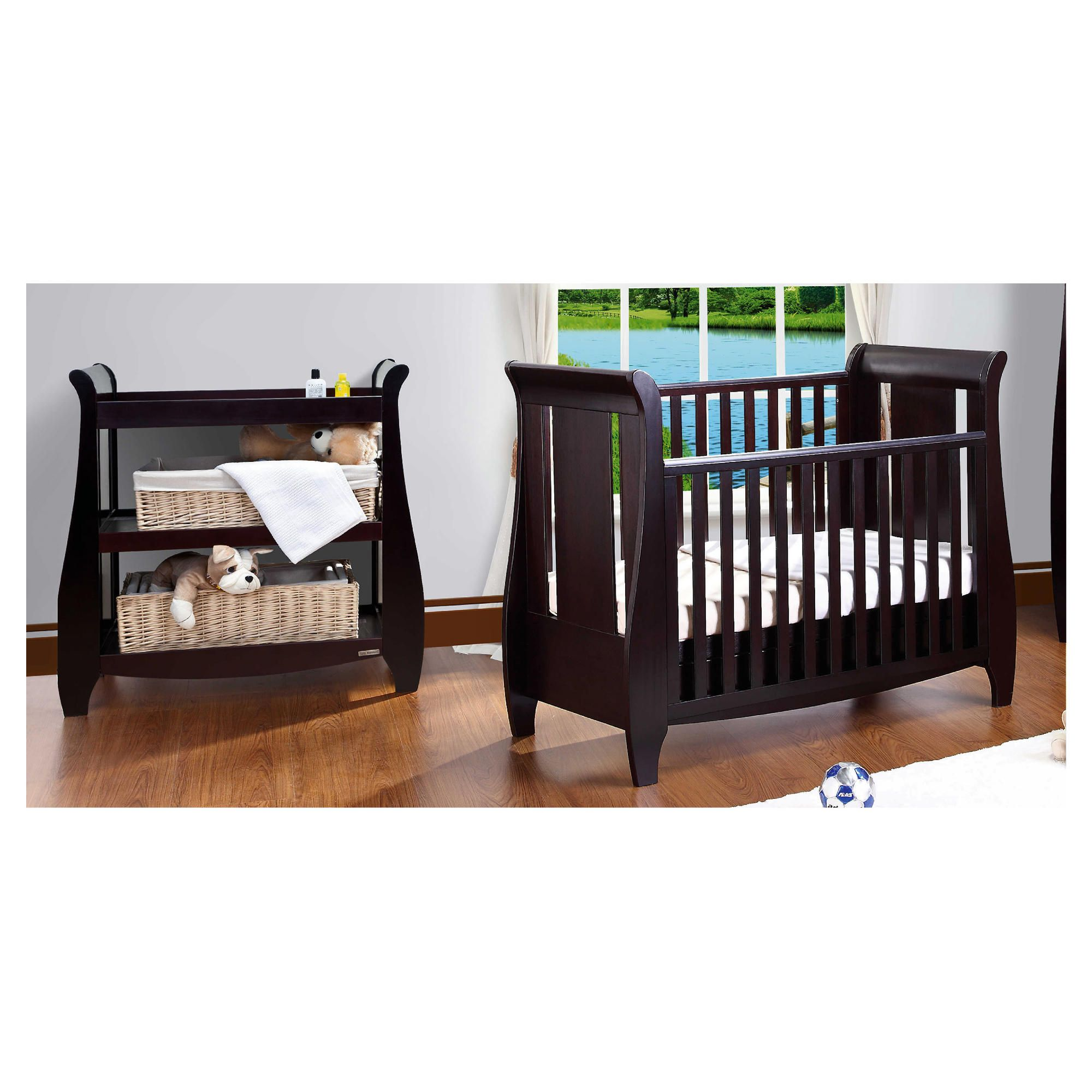 Tutti Bambini Lucas Cotbed with Shelf Changer, Espresso at Tesco Direct