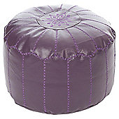 Kaikoo Moroccan Faux Leather Pouffe With Embroidery, Aubergine
