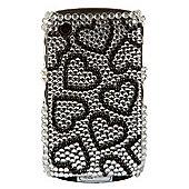 Bliss Hard Case BlackBerry 8520/9300 Silver Black Hearts