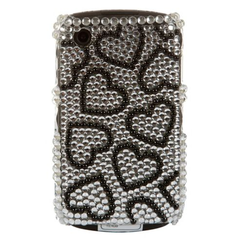 Bliss Hard Case BlackBerry 8520/9300 Silver Black Hearts