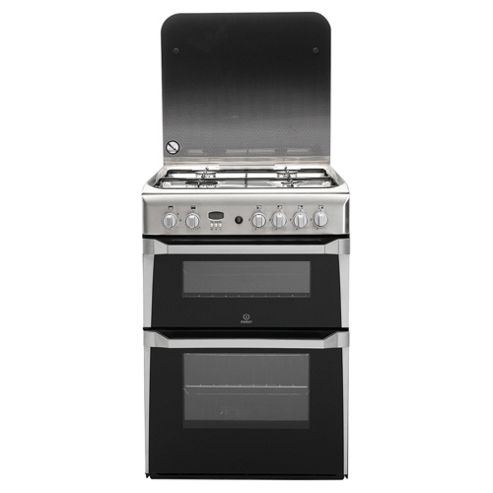 Indesit ID60G2X, Stainless Steel, Gas Cooker, Double Oven , 60cm