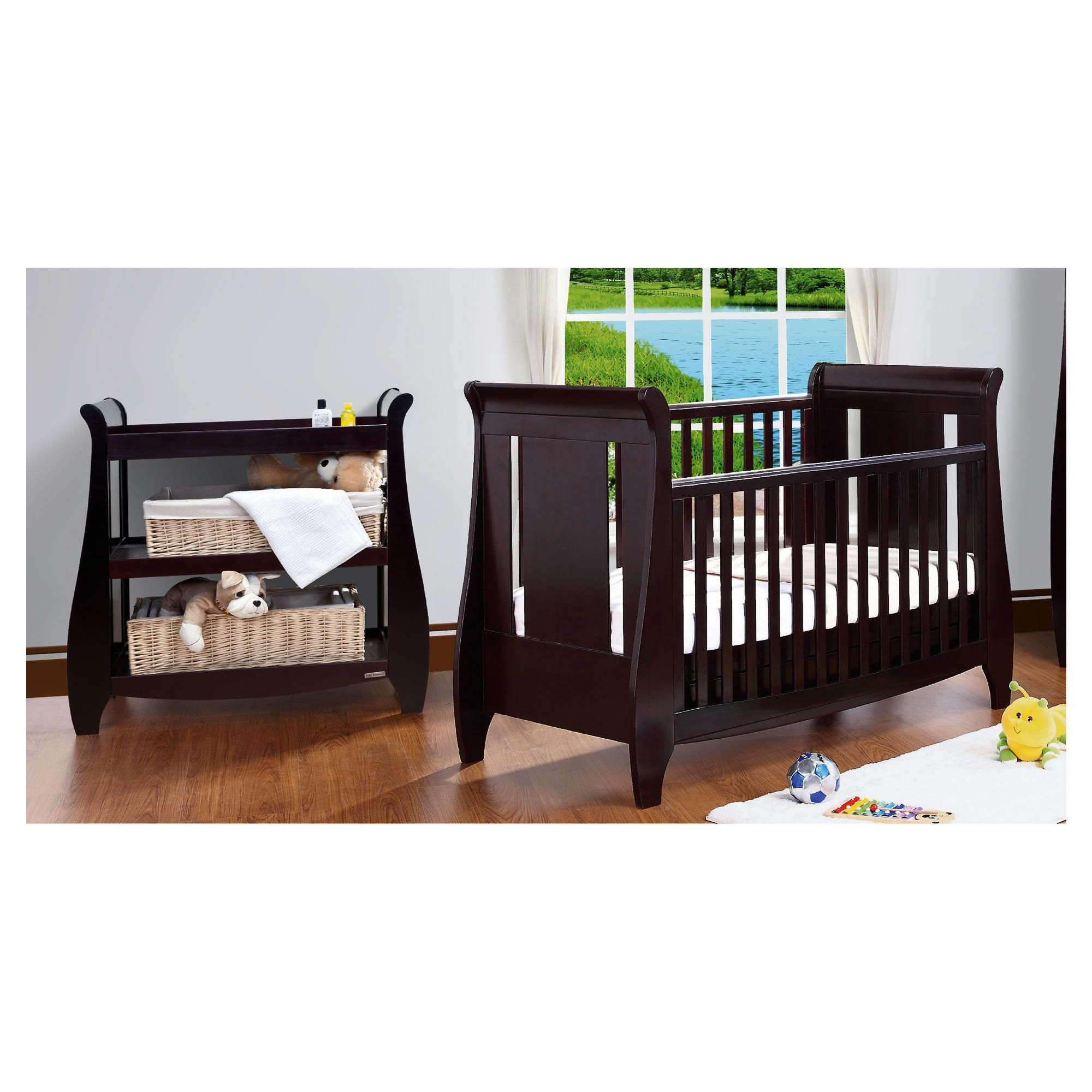 Tutti Bambini Katie Cotbed with Shelf Changer Nursery Room Set, Espresso at Tesco Direct