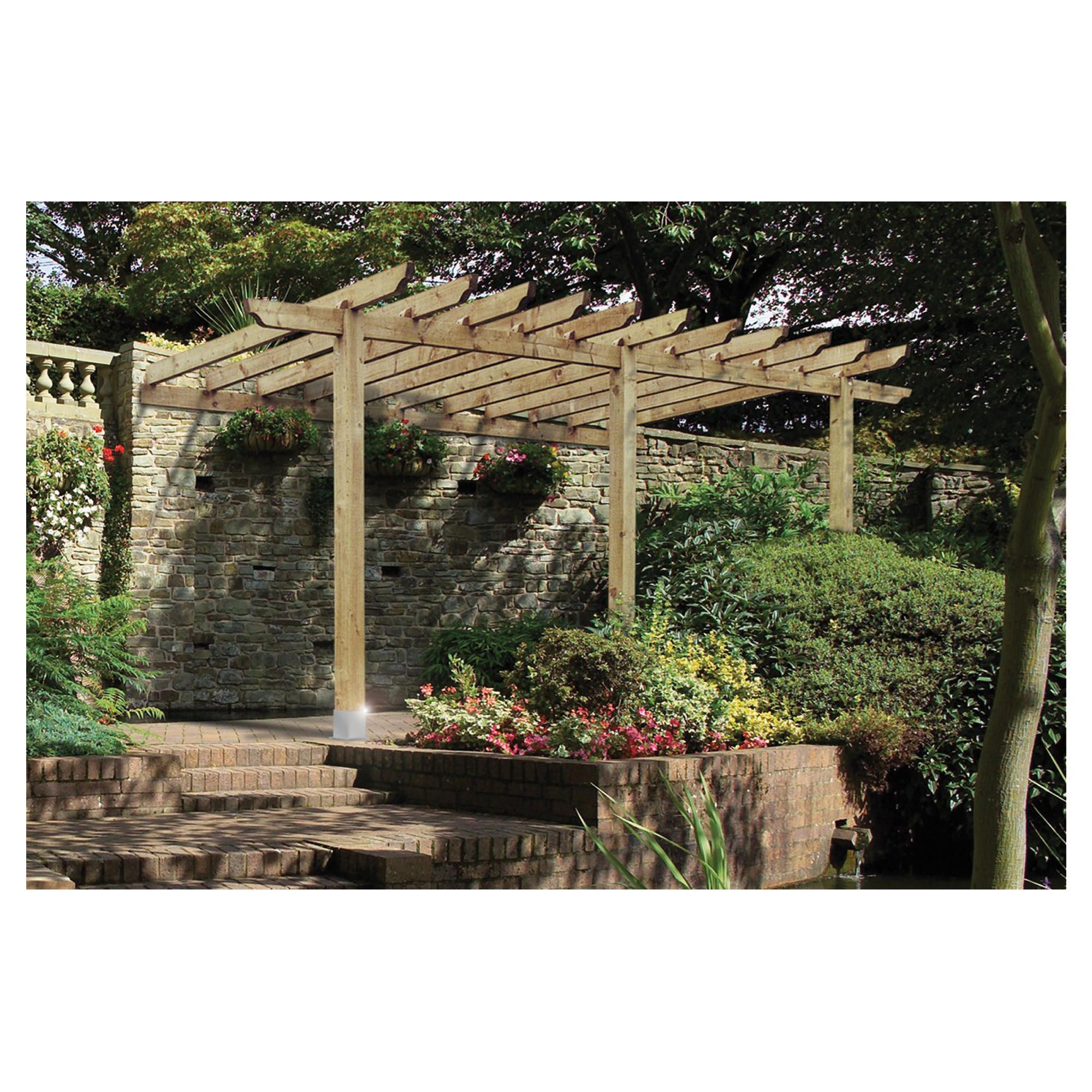 Finsbury Lean-to Pergola - Includes Bolt Down Anchors at Tesco Direct
