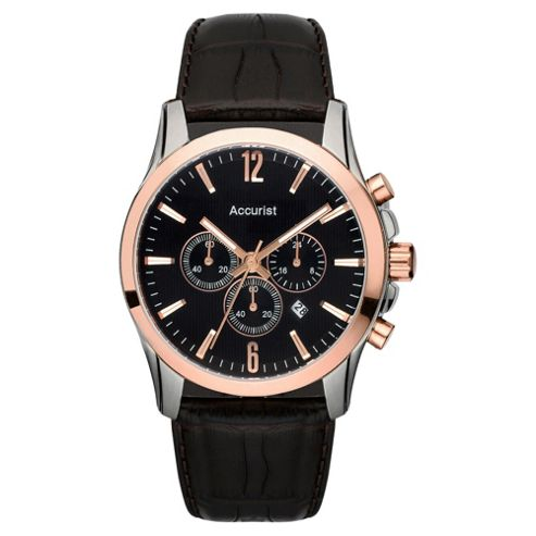 Accurist Mens Chronograph Leather Strap Watch