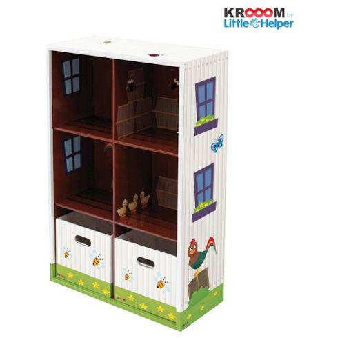 Krooom Large Garden Scene Bookcase & 2 Boxes Wooden Toy
