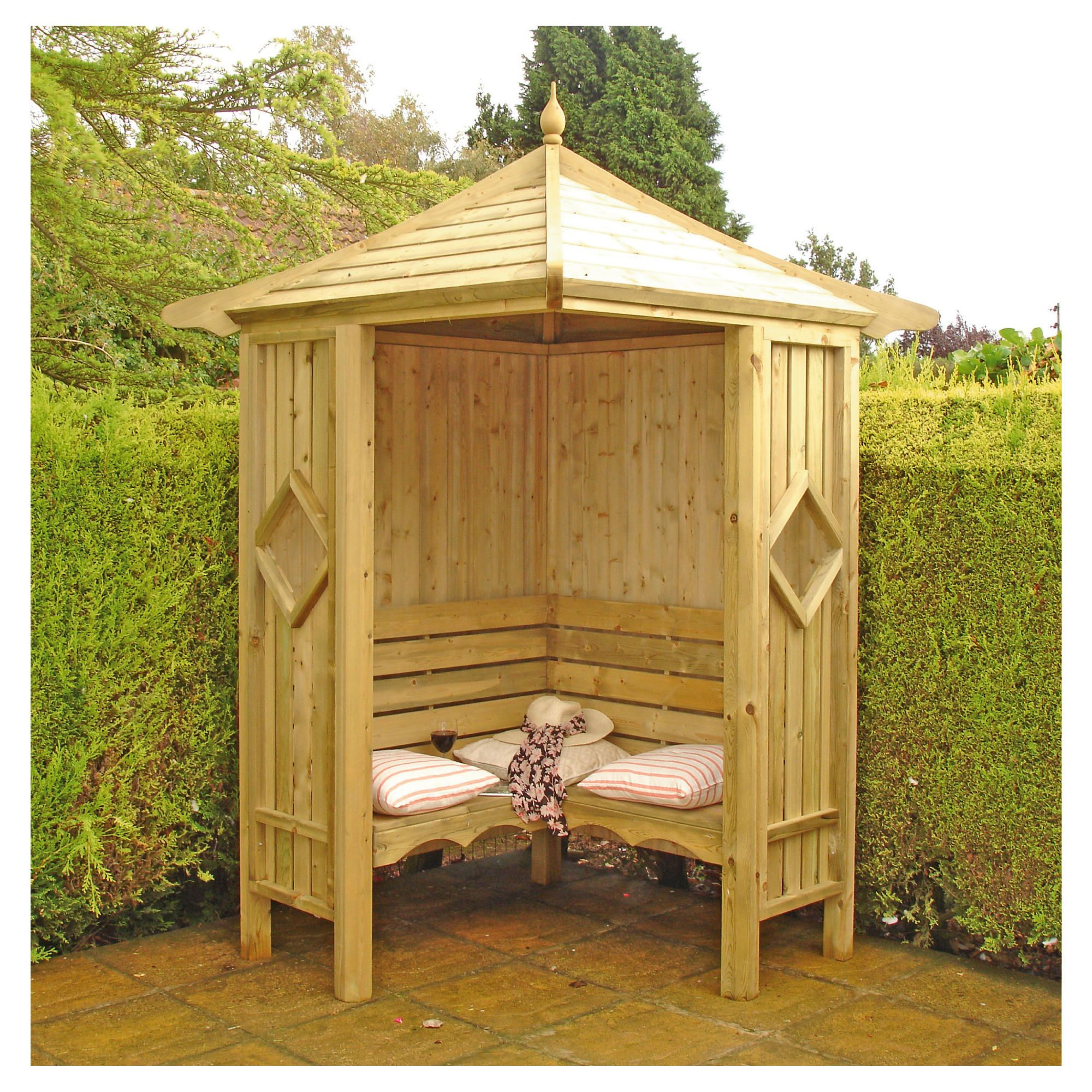 Finewood Corner Arbour 5x5 with Installation at Tesco Direct