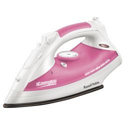 Russell Hobbs 18720 vertical steam feature Iron with Ceramic Plate - White/Pink
