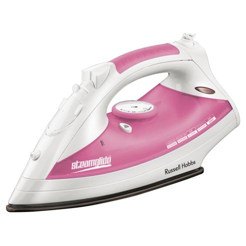 Russell Hobbs 18720 vertical steam feature Iron with Ceramic Plate -White/Pink