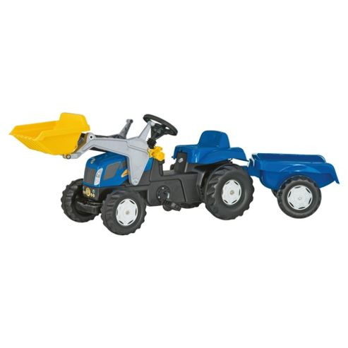 Rolly Kid New Holland TVT 190 Tractor Ride-On With Frontloader & Trailer